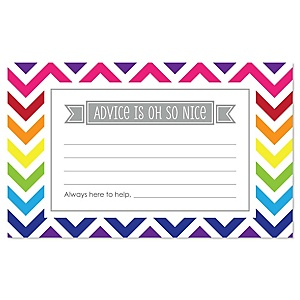 Chevron Rainbow - Party Advice Cards - 18 ct.