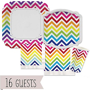 Chevron Rainbow - Baby Shower 16 Big Dot Bundle