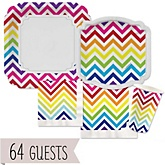 Rainbow Chevron - Baby Shower Tableware Bundle for 64 Guests