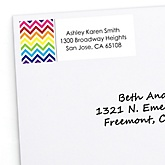 Rainbow Chevron - Personalized Baby Shower Return Address Labels - 30 ct