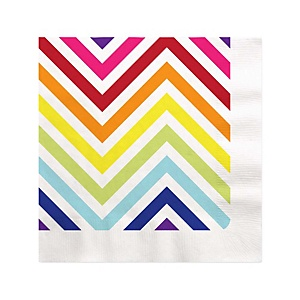 Chevron Rainbow - Baby Shower Beverage Napkins - 16 ct