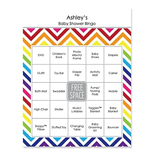 Rainbow Chevron - Bingo Personalized Baby Shower Games - 16 Count