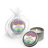Rainbow Chevron - Candle Tin Personalized Baby Shower Favors