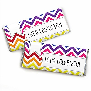 Chevron Rainbow - Personalized Baby Shower Candy Bar Wrapper Favors