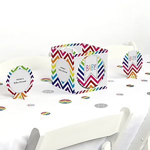 Chevron Rainbow - Baby Shower Centerpiece & Table Decoration Kit
