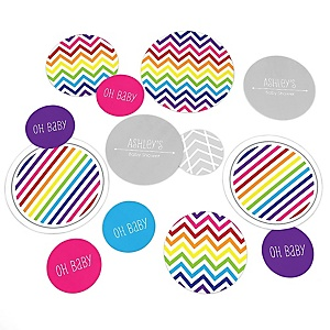 Chevron Rainbow - Personalized Baby Shower Table Confetti - 27 ct