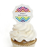 Chevron Rainbow - 12 Cupcake Picks & 24 Personalized Stickers - Baby Shower Cupcake Toppers