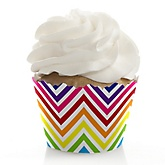 Rainbow Chevron - Baby Shower Cupcake Wrappers