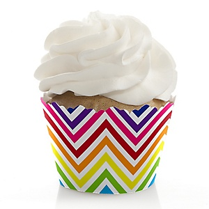 Chevron Rainbow - Baby Shower Cupcake Wrappers & Decorations