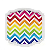 Rainbow Chevron - Baby Shower Dessert Plates - 8 Pack