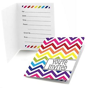 Rainbow Chevron - Fill In Baby Shower Invitations - Set of  8