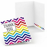 Rainbow Chevron - Baby Shower Thank You Cards - Set of  8
