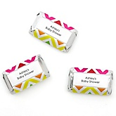Rainbow Chevron - Personalized Baby Shower Mini Candy Bar Wrapper Favors - 20 ct
