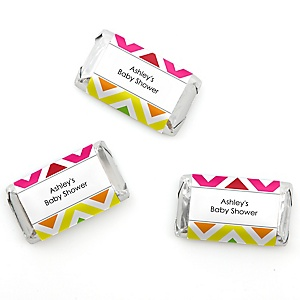 Chevron Rainbow - Personalized Baby Shower Mini Candy Bar Wrapper Favors - 20 ct