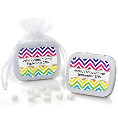 Rainbow Chevron - Mint Tin Personalized Baby Shower Favors...