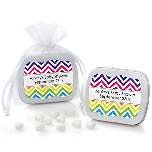 Rainbow Chevron - Mint Tin Personalized Baby Shower Favors