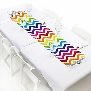 Rainbow Chevron - Personalized Baby Shower Petite Table Runners