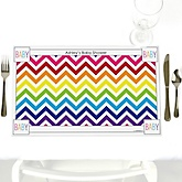Rainbow Chevron - Personalized Baby Shower Placemats