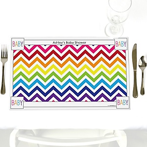 Chevron Rainbow - Personalized Baby Shower Placemats