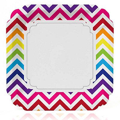 rainbow chevron baby shower dinner plates