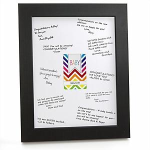 Chevron Rainbow - Personalized Baby Shower Signature Mat Gift