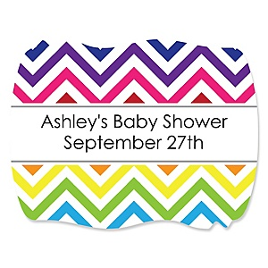 Rainbow Chevron - Personalized Baby Shower Squiggle Sticker Labels - 16 Count