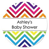 Rainbow Chevron - Personalized Baby Shower Round Sticker Labels - 24 Count