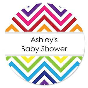 Rainbow Chevron - Personalized Baby Shower Round Sticker Labels - 24 Count