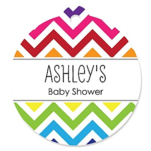 Rainbow Chevron - Personalized Baby Shower Round Tags - 20 Count