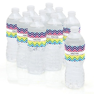 Rainbow Chevron - Baby Shower Personalized Water Bottle Sticker Labels - 10 Count