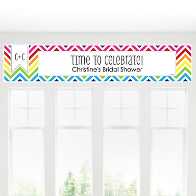 Chevron Rainbow - Personalized Bridal Shower Banners
