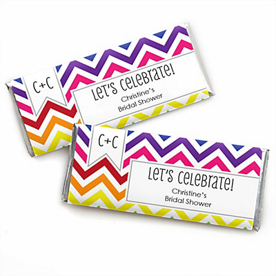 Chevron Rainbow - Personalized Bridal Shower Candy Bar Wrapp...