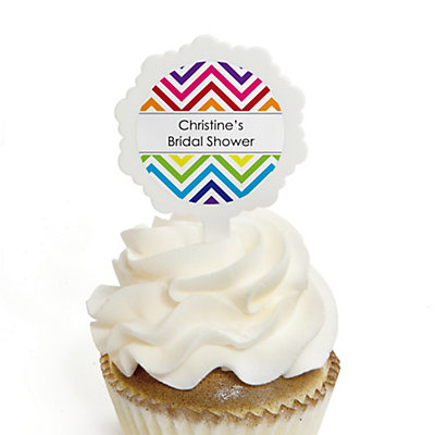Chevron Rainbow - Personalized Bridal Shower Cupcake Picks and Sticker Kit - 12 ct