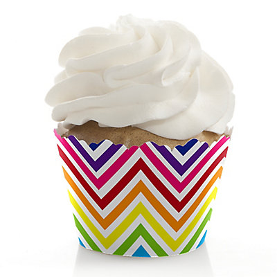 Chevron Rainbow - Bridal Shower Cupcake Wrappers & Decoratio...