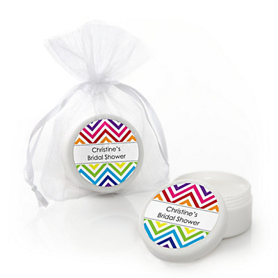 Chevron Rainbow - Personalized Bridal Shower Lip Balm Favors...