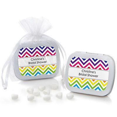 Chevron Rainbow - Personalized Bridal Shower Mint Tin Favors...