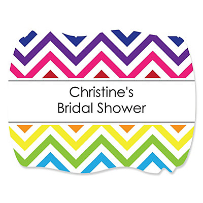 Chevron Rainbow - Personalized Bridal Shower Squiggle Sticke...