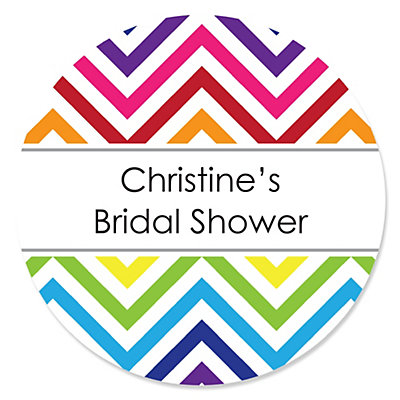 Chevron Rainbow - Personalized Bridal Shower Sticker Labels ...
