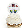 Chevron Rainbow - Personalized Everyday Party Cupcake Pick and Sticker Kit - 12 ct
