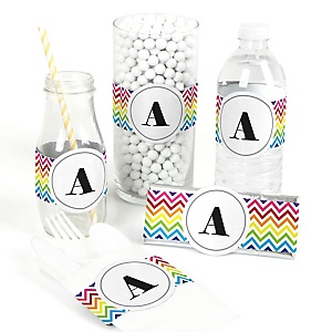 Chevron Rainbow - DIY Party Wrappers - 15 ct