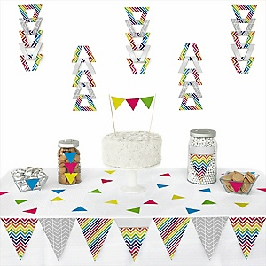 Chevron Rainbow - 72 Piece Triangle Party Decoration Kit