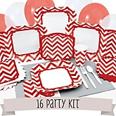 Red Chevron - 16 Person Baby Shower Kit