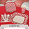 Chevron Red - 8 Person Birthday Party Kit