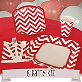 Red Chevron - 8 Person Baby Shower Kit