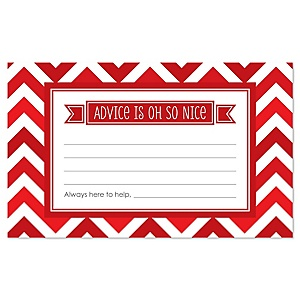 Red Chevron - Baby Shower Helpful Hint Advice Cards Game - 18 Count