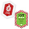 Merry & Bright - Chevron Red and Green - Shaped Christmas Party Invitations
