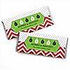 Merry & Bright - Chevron Red and Green - Personalized Christmas Candy Bar Wrapper Favors