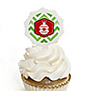 Merry & Bright - Chevron Red and Green - Christmas Party Cupcake Pick and Sticker Kit - 12 ct
