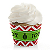 Merry & Bright - Chevron Red and Green - Christmas Party Cupcake Wrappers