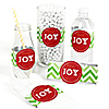 Merry & Bright - Chevron Red and Green - DIY Christmas Party Wrapper - 15 ct